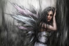 """""""Fairy"""" is a surreal portrait of a beautiful and mysterious fairy in a dark, abstract forest. It was created with a combination of digital painting and photo manipulation using Corel Painter, Adobe..."""