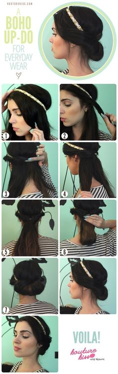 boho, updo, hair tutorial, i've actually tried this, very cute up do!