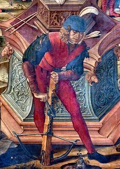 MARTIRIO DI S. SEBASTIANO (dett.); Basilica di San Petronio - Cappella Vaselli (o di S. Sebastiano), Bologna; opera di Scuola emiliana, 1490-95 c.