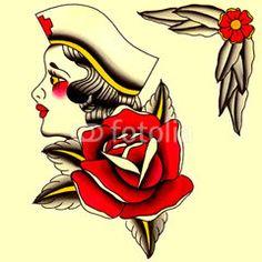Illustrazione: infermiera con rosa Illustrazione Tatuaggio in stile old school