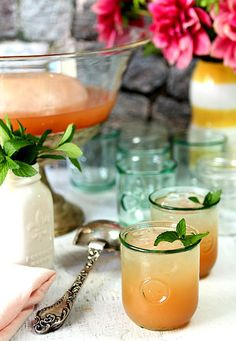Texas Bourbon Punch With Pink Grapefruit and Mint - Perfect for a crowd!