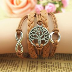 New Retro Silver Tree Infinity Circle Charms Wax Rope Leather Wrap Bracelet DIY
