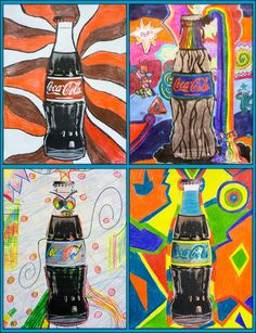 Coca Cola Pop Art - cool idea for grade. Print off the actual object and pai. - Coca Cola Pop Art – cool idea for grade. Print off the actual object and paint/draw around ea - Classe D'art, 7 Arts, Middle School Art Projects, Art Club Projects, 7th Grade Art, Ecole Art, Art Lessons Elementary, Elements Of Art, Art Lesson Plans