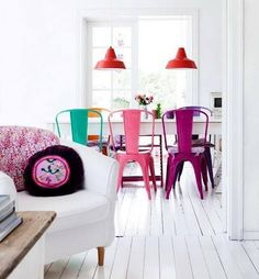 colorful interiors, white walls and floor, colorful furniture, design, interior design Colorful Chairs, Colorful Furniture, Colorful Cafe, Funky Chairs, White Furniture, Plywood Furniture, Dining Furniture, Modern Chairs, Furniture Design