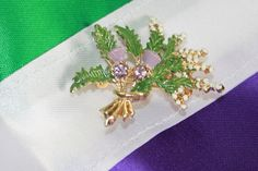Scottish Thistle Brooch in Suffragette Colours. Suffragette Colours, Scottish Thistle, Purple Glass, Amethyst Stone, Costume Jewelry, Brooch, Costumes, Jewellery, History