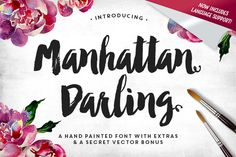 Manhattan Darling Brush Lettering Typeface + BONUS - Manhattan Darling Typeface was created as a dual-purpose font, with gritty, imperfect, hand-painted characters and an irregular baseline.