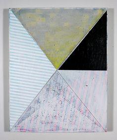 Geometric Minimal Painting White, Black & Yellow on Canvas NY1309