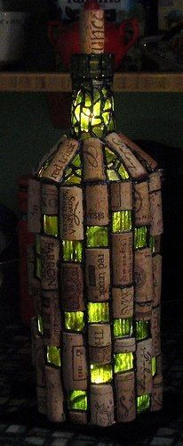 Wine bottle light with cork! this is very unique and wonderful! http://www.flickr.com/photos/chrisemmert/5674953150/in/photostream/