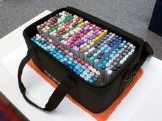 Plastic cases inside the Copic carrying case.