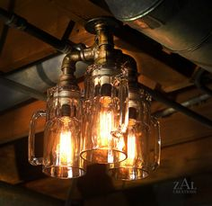 Ceiling light. Beer mugs and plumbing fittings. With vintage style Edison bulbs. by ZALcreations on Etsy https://www.etsy.com/listing/188109514/ceiling-light-beer-mugs-and-plumbing