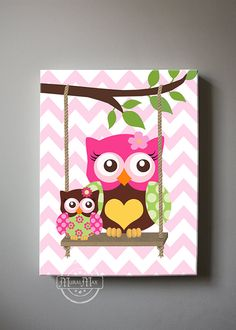 Whimsical Owl Canvas Art Nursery Decor Girls wall art by MuralMAX