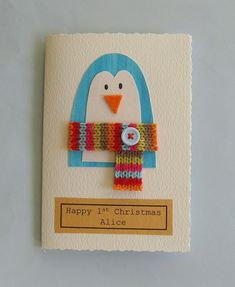 Handmade christmas card -penguin- can be personalised £3.50