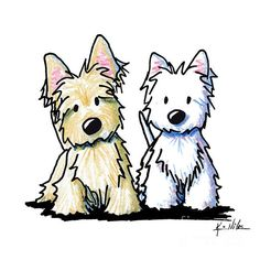 DescriptionTerrier dog breed art by Contemporary PUP Artist, Kim Niles (aka KiniArt). © Kim Niles - All Rights Reserved http://fineartamerica.com/featured/kiniart-terrier-duo-kim-niles.html