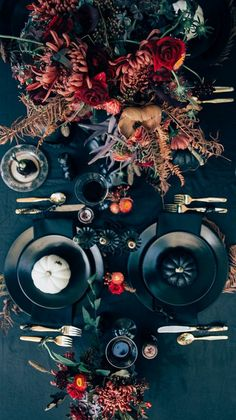 table setting in the autumn luxurious design