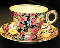 Black and Yellow chintz | ROYAL-WINTON-FLORENCE-PINK-YELLOW-BLUE-BLACK-CHINTZ-TEA-CUP-AND-SAUCER