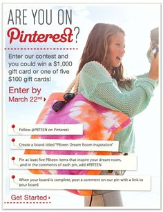 Enter the contest today! If you like PBTEEN do this and if you don't you can dothis and give me the gift card if you win.
