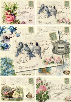 INSTANT DOWNLOAD diGiTAL CollAge SheeT Shabby Chic FORget mE NoT flORal baCKgroUnds FrENch EphEmeRa PrinNTaBLe diGitAl sCrAPbooKing, No. 46 via Etsy