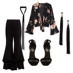 """""""Floral with black"""" by madaliness ❤ liked on Polyvore featuring Alexis, Yves Saint Laurent, Miss Selfridge and Ann Demeulemeester"""
