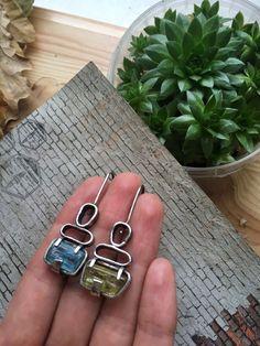 Серьги с аквамарином и гелиодором «Геометрия» – купить в интернет-магазине на Ярмарке Мастеров с доставкой Alex And Ani Charms, Natural Stones, Gemstone Rings, Hoop Earrings, Charmed, Gemstones, Bracelets, Accessories, Jewelry