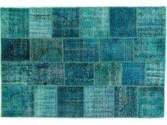 Turquoise Patchwork Overdye Rug PW1927