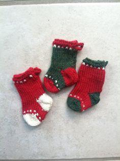 Mini Christmas Stockings by Amazingknits on Etsy, $8.00