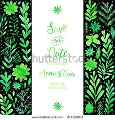 Vector watercolor invitation, texture with flowers and plants. Wedding invitation card. Floral ornament. Original floral background - stock vector