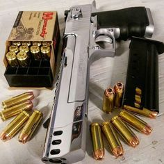 Desert Eagle - boom there it is! Find our speedloader now… Weapons Guns, Guns And Ammo, Fallout Weapons, Hand Cannon, Desert Eagle, Custom Guns, Cool Guns, Self Defense, Firearms