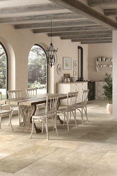 Cavendish Buff Stone Effect Porcelain In Situ Travertine Floors, Stone Flooring, Kitchen Flooring, Rustic Bathroom Designs, Hallway Designs, Mandarin Stone, Open Plan Kitchen Living Room, Home Design Living Room, Kitchen Wall Colors