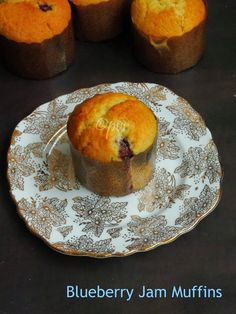 Eggless Blueberry Jam Muffins