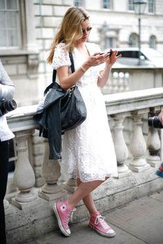Hi top converse sneakers, summer dress.