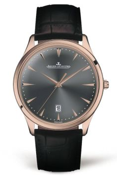 pure, simple, and elegant aesthetic. The pink gold Master Ultra Thin watch is a timeless model that exudes discreet charm. The slate-gray dial adds an extra dash of personality. This model is available exclusively in Jaeger-LeCoultre boutiques.