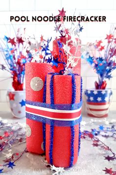 Create fun patriotic firecrackers using Dollar Store pool noodles, star wire garland, and ribbon. Easy to add more embellishments to customize the look of each firecracker. #patriotic #craft #diy #dollarstore #dollarstorecraft #firecracker #memorialday Patriotic Crafts, Patriotic Decorations, Diy Craft Projects, Decor Crafts, Craft Ideas, Crafts To Make And Sell, Crafts For Kids, 4th Of July Party, July 4th