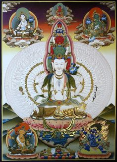 Seated 1000 Arms Avalokitesvara Thangka Painting. Order Beautiful Thangkas and Mandala painted by the best artists in Nepal @ TraditionalArtofNepal.com #thangka #art