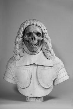Vanitas Bust     Italian artist End of XVII century Vanitas White marble and giallo antico 63 x 58 x 23 cm / 25 x 23 x 9 in