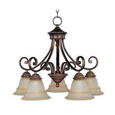 Maxim Lighting Chandelier with Beige / Cream Glass in Oil Rubbed Bronze Finish | 11176EVOI | Destination Lighting
