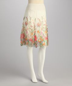 Take a look at this Ivory Floral Embroidered Chiffon Skirt by Papillon Imports on #zulily today!