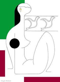 """Saatchi Art Artist Hildegarde Handsaeme; Drawing, """"Un moment décontracté en couleurs"""" #art"""