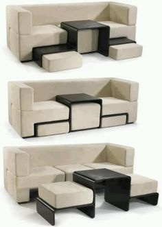dorm or small house sofa with built in table and foot stool /extra seating
