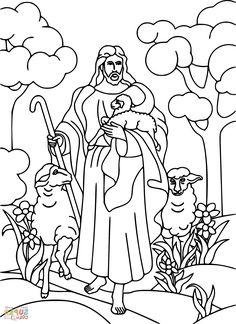 Jesus is the Good Shepherd Bible coloring page Make your world more colorful with free printable coloring pages from italks. Our free coloring pages for adults and kids. Jesus Coloring Pages, Free Printable Coloring Pages, Coloring Book Pages, Coloring Pages For Kids, Coloring Bible, Coloring Sheets, Adult Coloring, Sunday School Coloring Pages, The Lost Sheep