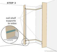 step 3 - corner bult-in bookshelves mod