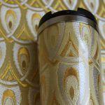 西陣織タンブラー 正絹 羽重ね紋様 孔雀をイメージした紋様です。きらりと華やかな一品を是非。 #Shake #Tumbler #cup #fabric #coffee #cafe #silk