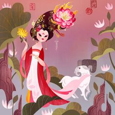 It's almost time to celebrate the Chinese New Year year of Ram) by Joey Chou Art And Illustration, Character Illustration, Joey Chou, Glenn Arthur, Art Asiatique, Disney Artists, Chinese New Year, Asian Art, Fine Art Paper