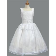 Beaded Satin First Communion : LTSP965  Beautiful beaded First Communion Dress.  Satin sleeveless bodice has a square beaded neckline.  Entire bodice of dress is adorned with pretty crystal beads.  Wide beaded sash at waistline that ties in a large bow in back for the perfect fit.  Even the bottom of the bow ties are adorned with the crystal beading.  Fully lined and includes a layer of crinoline that can be fluffed up for added fullness.  Zipper closure in back.
