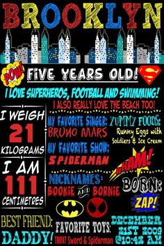 Custom Superhero Birthday Board, great for birthday parties themed with superheroes or comic birthday boards, custom boy birthday chalkboard