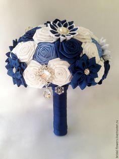 Купить Брошь букет невесты. Темно-синий с белым - темно-синий, белый, брошь букет