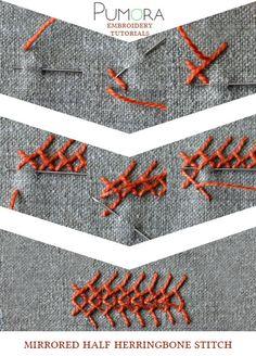Pumora's lexicon of embroidery stitches: the mirrored half herringbone stitch