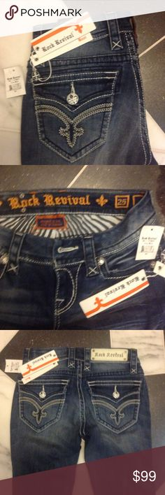NWT ROCK REVIVALS. SIZE 25x. HERE IS A NEW PAIR OF ROCK REVIVAL ASHLEY , LOW RISE, BOOT CUT .SIZE 25x33. FLEUR DE LIS / WITH HEAVY STITCHING. RETAIL FOR $174.❤️ Rock Revival Jeans Boot Cut