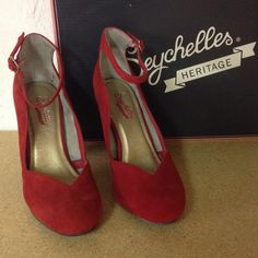 Shoes-heels Red suede heels with ankle strap Seychelles Shoes Heels
