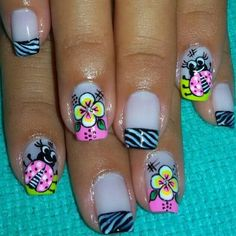 Cute Pedicure Designs, Flower Nail Designs, Nail Art Designs, Swag Nails, Fun Nails, Pretty Nails, Mani Pedi, Nail Manicure, Cute Pedicures