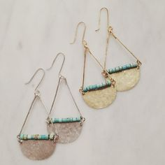 turquoise, gold, silver earrings